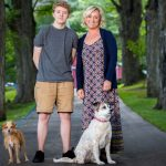 b and b owner with her son and dogs